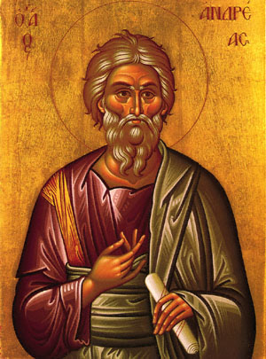 Andrew, Peter's brother, was the first apostle called by Jesus. The historian Eusebius reports that Andrew went to Scythia in Asia Minor to conduct his mission, and this icon honors him as the First Ecumenical Patriarch of Contantinople. He is also the patron saint of Scotland, after an ancient king invoked his aid in battle against the Angles. (iconographer unknown)