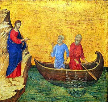 """Duccio di Buoninsegna: St. Andrew the First Called. He went and told his brother, """"We have found the Messiah!"""" That brother was St. Peter."""