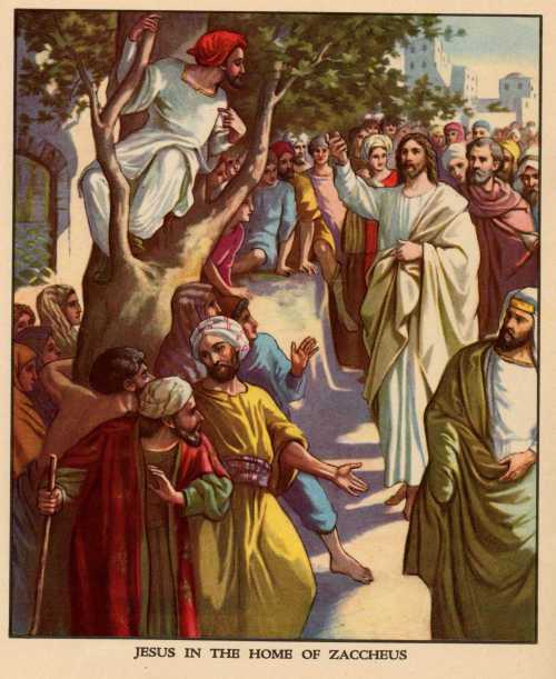 Generations of children have learned about Zaccheus climbing the tree, one of those feel-good Bible stories they always seem to remember; but the lesson is about Christ's coming into the world to save sinners. Zaccheus, head tax collector, was skimming money off the top. (Providence Lithograph Company?)