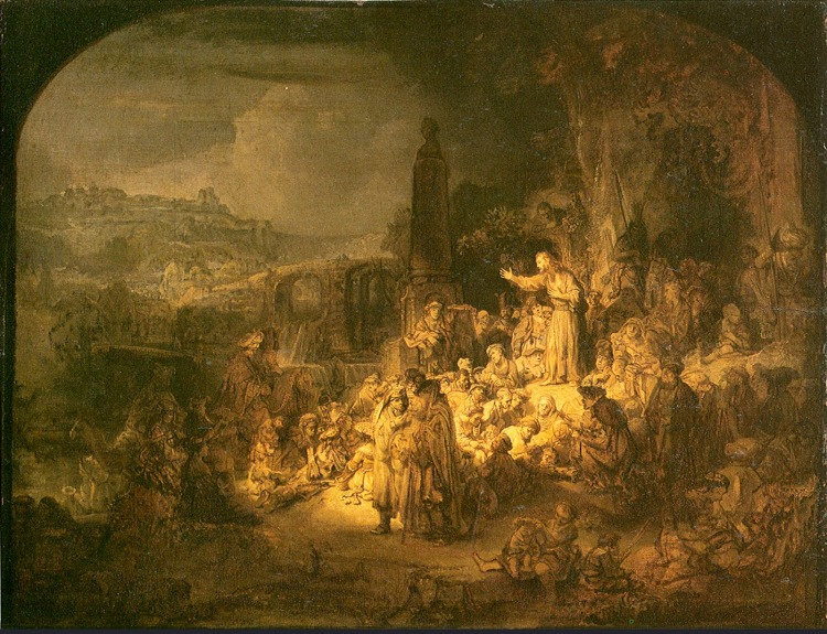 Rembrandt: Preaching of John the Baptist.