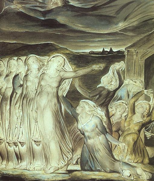 William Blake, 1822: Parable of the Wise and Foolish Virgins. Waiting for the master's return is the  point of Advent. (Tate Gallery, London)