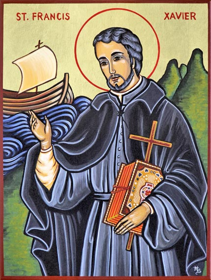 Francis Xavier, a co-founder of the Jesuits with Ignatius Loyola, is said to have converted 30,000 people in India, Sri Lanka, Indonesia and Japan, more than anyone since St. Paul. The miracles Xavier was said to perform are numerous and dramatic. But many abuses of the native populations are also attrributed to him and his followers.  (iconographer unknown)