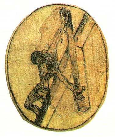 John's own sketch of the Crucifixion, seen from above, according to a vision he received. In 1951 the surrealist painter Salvador Dali, who was Spanish like the saint, produced his own version of John's vision, also based on a dream.