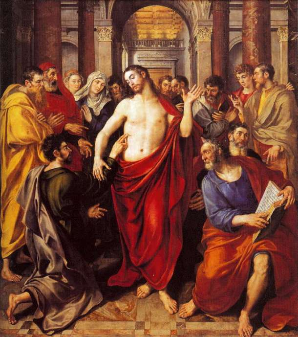 Martin De Vos, 1572: Jesus Shows Thomas His Wounds. Thomas is said by very early authorities to have evangelized parts of India, and the Syrian Christians of Malabar name their tradition after him, the Mar Thoma Church.