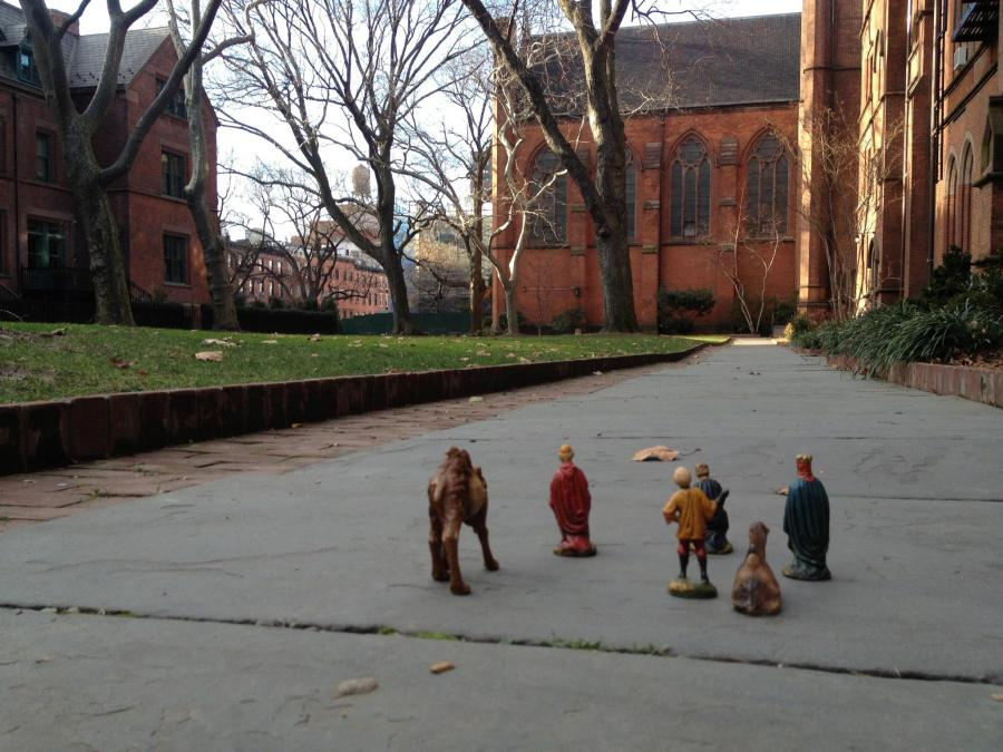 Wise men making their way toward the Chapel of the Good Shepherd at the General Theological Seminary, New York. The going is slow; one of their camels is always sitting down and won't get up no matter what. (Fr. Robert Solon, Jr.)