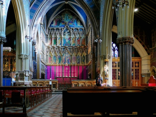 All Saints', Margaret Street, London. The chancel is marked off by a wall, not a rood screen. (Russ London)