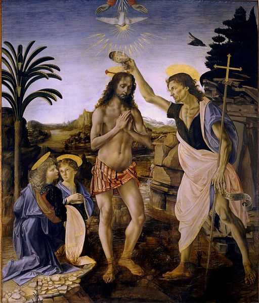 Workshop of Andrea del Verrochio, including Leonardo da Vinci: Baptism of Christ. This event signals the importance of baptism, so central an act in our faith experience that Christ himself participated in it at the hands of his cousin John. The washing is a ritual act meant to signify cleansing and a change of life. Jesus didn't need the washing; he was telling us that we do.