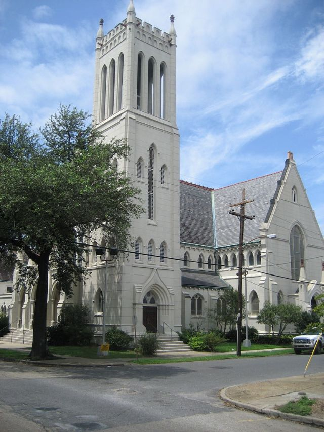 Christ Church Cathedral, New Orleans, the first Protestant church built in the entire Louisiana Purchase; 2008 photo. (Wikipedia)