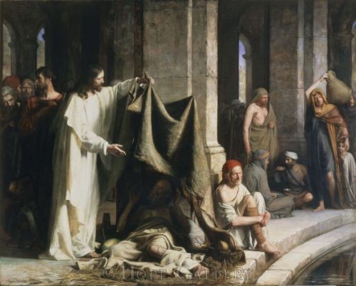 Carl Bloch, 1883: Christ Healing at the Pool of Bethesda. You might like to study the other figures a bit, including the man in the red cap.