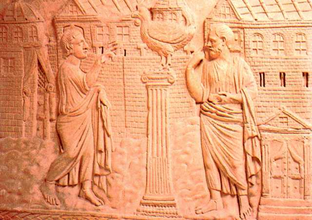 Peter's Confession, bas-relief from a 4th century sarcophagus.(Vatican Museums)