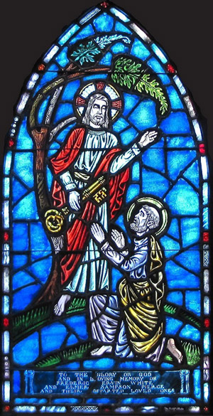 Confession of St. Peter window at St. Peter's Cathedral, St. Petersburg, Florida. Peter was the first person to recognize who Jesus really was.