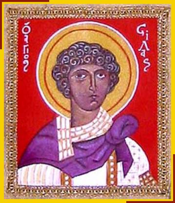"""Silas (Silvanus) was a prophet in the Jerusalem Church who accompanied Paul on missions to Asia Minor and Macedonia. Silas is mentioned often in the Acts of the Apostles, listed as a co-author of both letters to the Thessalonians, mentioned in 2nd Corinthians and praised by St. Peter in his first epistle as a """"faithful brother.""""(iconographer unknown)"""