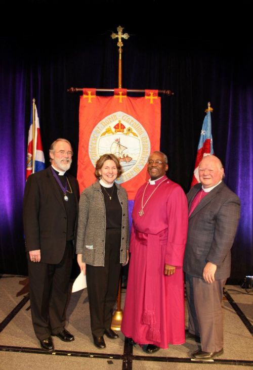 "The Diocese of North Carolina, USA, elected a woman suffragan bishop at its convention on Saturday. From left: William Gregg, assistant bishop; Anne Hodges-Copple; Michael Curry, the diocesan; and Alfred ""Chip"" Marble, assistant bishop. Hallelujah! (Diocese of North Carolina)"