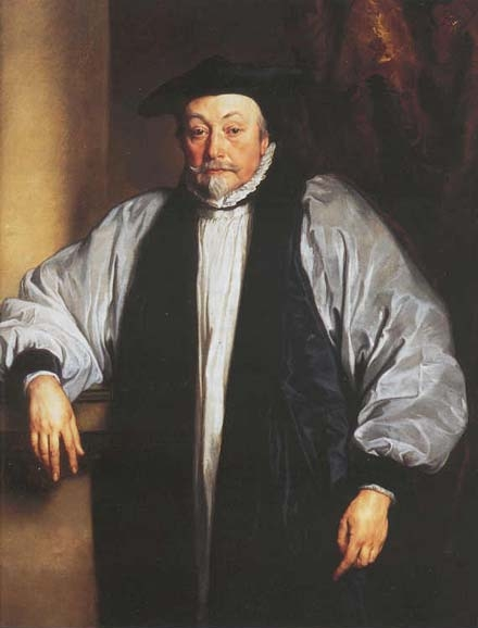 Studio of Anthony Van Dyck: William Laud. He's been honored as a martyr and condemned as an intolerant bigot – a rigid High Churchman in the age of Charles I. The Long Parliament put him to death, but he was honest, devout, compassionate and loyal both to the king and to the catholic religion.