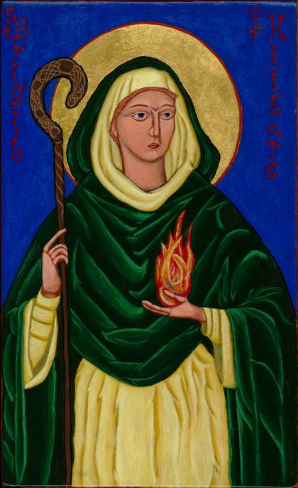 St. Brigid, also called Bride, is one of Ireland's most popular saints; she may have known St. Patrick. She established a monastery at Kildare and persuaded Conlaed to bring his monks and join her. She is often depicted with a crozier or shepherd's hook, a sign of episcopal office. We don't know definitvely whether she was ordained a bishop, but we do know she possessed similar authority. Her love for the poor endeared her to them; she is revered throughout the British Isles. (Br. Kenneth Hosley, OPC)