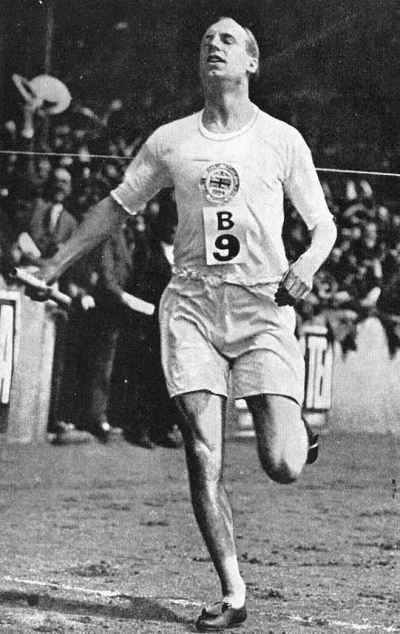 "Eric Liddell at the Paris Olympics, 1924. He won gold and set a world's record in the 400 meters, then grabbed a bronze in the 200, but his best event was the 100 meter dash. When his preliminary heat was scheduled for a Sunday, he refused to run because he considered it the Sabbath, a principled stand immortalized in the film ""Chariots of Fire."" But his return to China and service to fellow prisoners of war are why we celebrate him as a saint; he was interned by the Japanese in 1943 and later given a chance to participate in a prisoner exchange with the British, but he gave up his place to a pregnant woman instead."