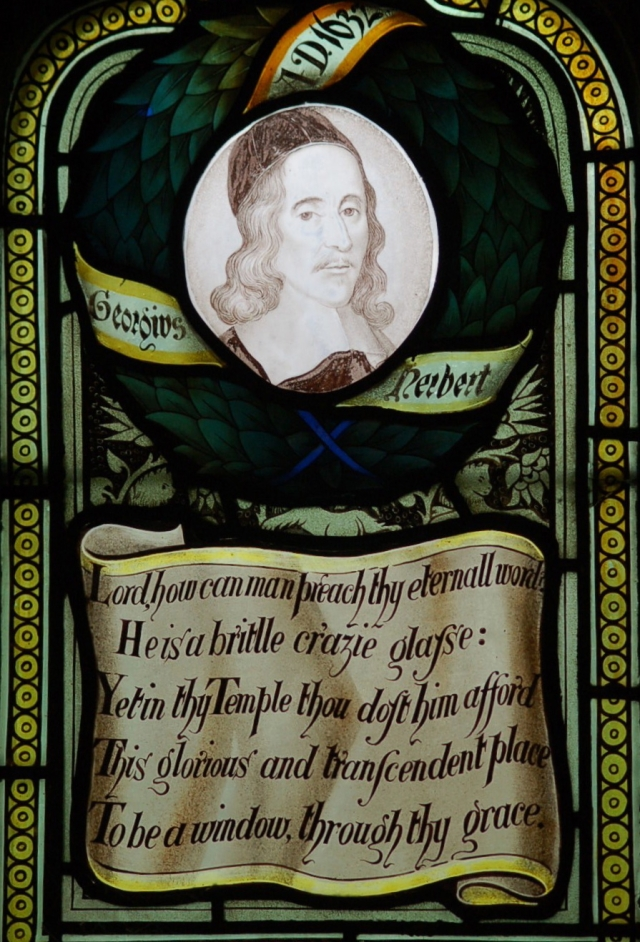 Let your eye translate the anachronistic spelling and S's that look like F's, to get at what the priest is thinking as he labors, prays and looks around his little country church. He is a brittle crazy glass, and yet… (Glasswork: Charles E. Kempe, at West Kirby Church, Cheshire; photo: Philip Collins)