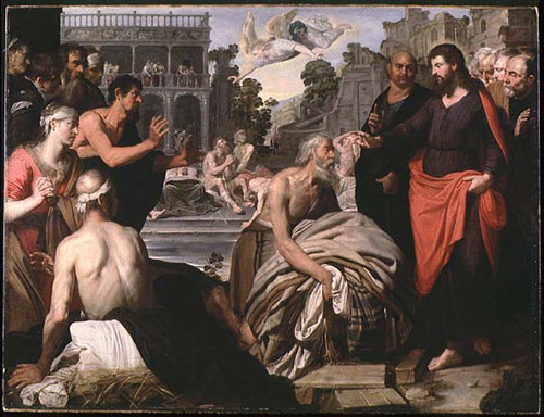 Artus Wolfort, c. 1620: Jesus at the Pool of Bethsaida. People believed that God sometimes stirred up the waters there, and the first one in the pool would be healed.