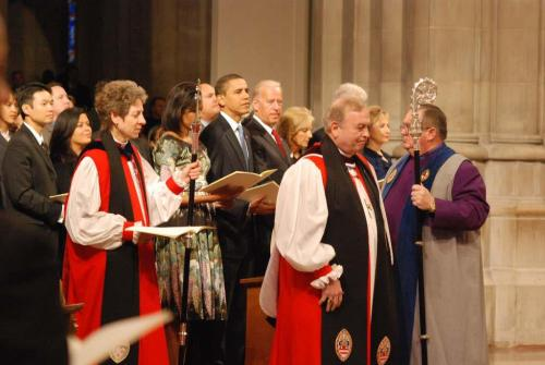 "The hoopla of President Obama's second inauguration is over, but this 2009 photo by Dr. Richard Schori from Obama's first swearing-in has just been released, showing the Presiding Bishop Katharine Jefferts Schori with the President, Vice-President Biden and their wives at the Inaugural Prayer Service at the National Cathedral in Washington. This image is a throwback to an earlier era when the Episcopal Church was the most prestigious in the United States; those days will never come again. But the photo also illustrates the continuing importance of that cathedral as ""the nation's church."""
