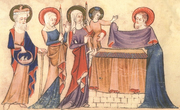 Luttrell Psalter, 14th C.: Presentation of Christ. This richly symbolic act carries at least three meanings: redeeming and dedicating Mary's firstborn son with the sacrifice prescribed in the Torah; Mary's ritual purification 40 days after childbirth; and the fulfillment of a messianic prophecy as Simeon, the priest who received the baby Jesus, hails him as Savior in the famous song Nunc dimittis. (British Library)