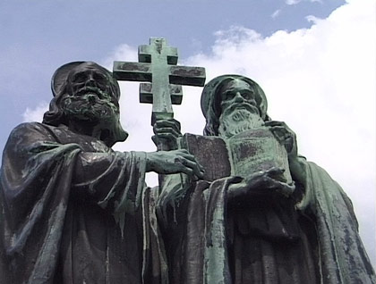 Cyril and Methodius Monument, Mt. Radhost, Czech Republic. In 862 the King of Moravia asked for missionaries who would teach people in their native, unwritten Slavonic language; Cyril invented an alphabet, known today as Cyrillic, while his brother Methodius completed a Slavonic translation of the Bible. They were variously persecuted for this, but the People knew they'd given them the language of prayer.