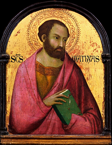 "Workshop of Simone Martini, c. 1317-19: St. Matthias, the apostle chosen to replace Judas Iscariot, and thus the first in ""apostolic succession."" If somehow he had failed in his duties it might have devastated the infant Church; but he did not fail. Where he succeeded we're less sure of; competing traditions say he evangelized around the Caspian Sea, or was martyred in Ethiopia or Judea, but Hippolytus of Rome said he died in Jerusalem of old age. (Metropolitan Museum of Art, New York City)"