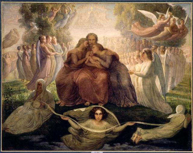 """Louis Janmot, c. 1835-55: Generation Divine, one of a series of Christian paintings with verses he created over a 40-year period. The lines accompanying this painting are these: """"At the moment the infinite wisdom has chosen/Overcome the void yields and gives way to life:/The yawning abyss, dark and silent,/A human soul rises to the light of heaven."""" (Musée des Beaux-Arts, Lyon)"""