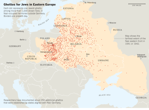 Known Jewish ghettos during World War II, in big towns and small: 350 more than previously documented. (Source: U.S. Holocaust Memorial Museum. Graphic: The New York Times)