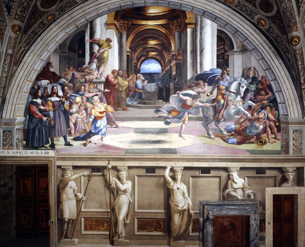 A closer look at one of Raphael's murals in the newly-reopened Heliodorus Room at St. Peter's. (Vatican Museums)