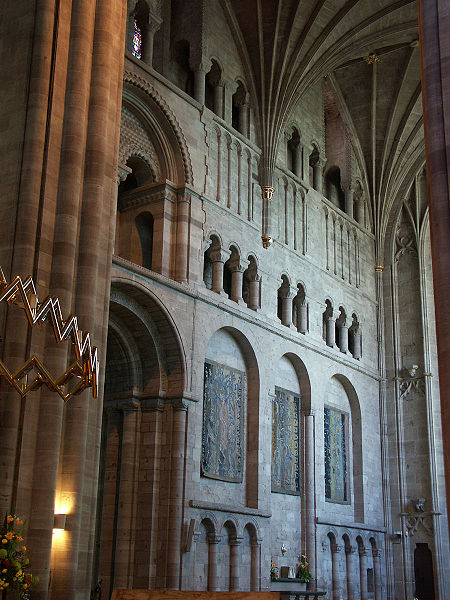 Hereford Cathedral, England, dates from 1079 and contains a world map from the 13th century. This is a view of the south transept.