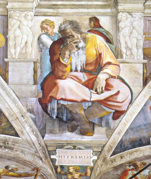 Michelangelo: Jeremiah, in the Sistine Chapel where the Roman Cardinals gathered this week to pick the new pope. Click to enlarge.
