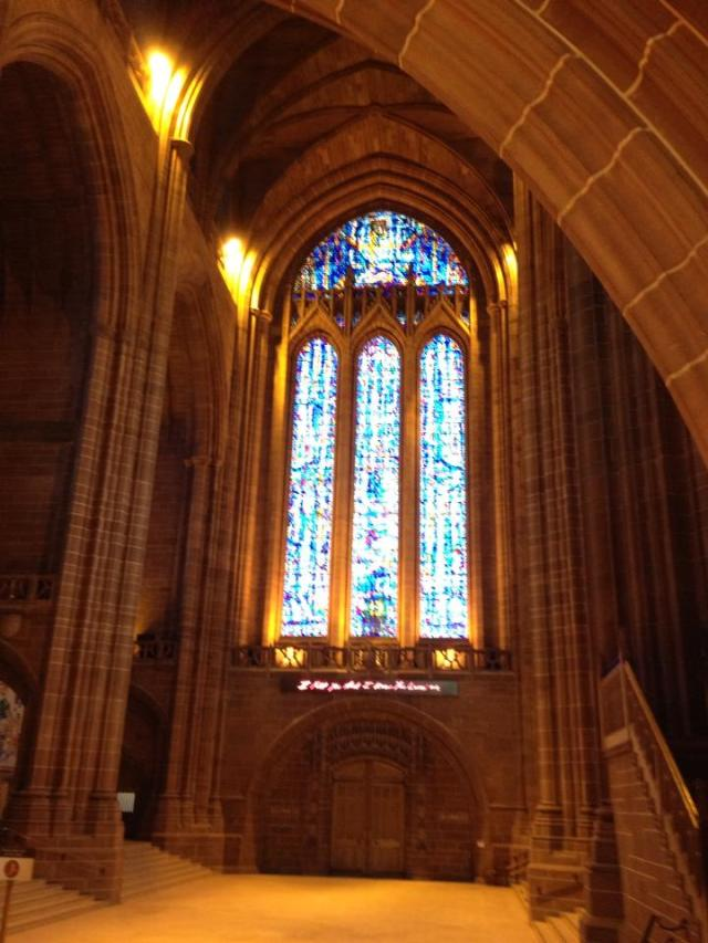 Liverpool Cathedral, completed in 1978, is the fifth largest in the world, by one measure; the Cathedral of St. John the Divine in New York is fitfh by another. (Bishop Alan Wilson)