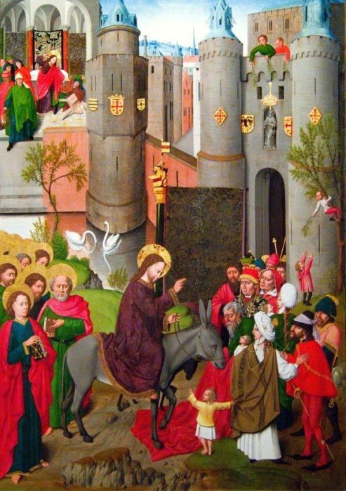 Anonymous Master of Gdansk, c. 1500: Christ's Entry into Jerusalem. While the main action takes place across the bottom, Jesus is also seen in the upper left, cleansing the Temple. See too the child in the tree, right center, and the pair of swans. (Polish National Museum, Warsaw)