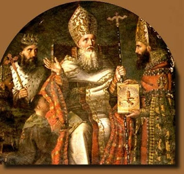 Gregory's success in converting Armenia was by no means assured; his father had assasinated the previous king years before. Gregory returned from exile to atone for his father's crime, and the old king's son, now on the throne himself, threw him in a pit for a dozen years. Later they reconciled; teaching the king how to do that is what led to his conversion. (source unknown)