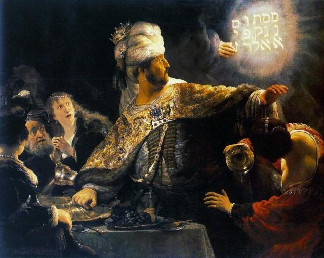 Rembrandt: Belshazzar's Feast; click to enlarge.