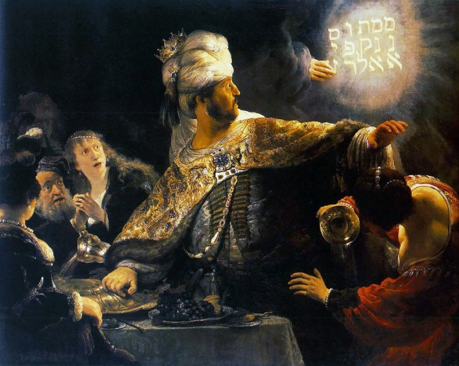 Rembrandt: Belshazzar's Feast; click to enlarge.