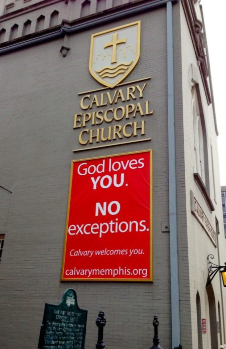 Calvary Church, Memphis, Tennessee; no exceptions for people with AIDS, or any other group some hater is reviling. (John Montreville Denton)
