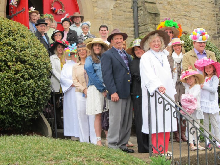 Easter bonnets at Grace Church, Pomeroy, Ohio, 2013.  (The Rev. Tom Fehr)