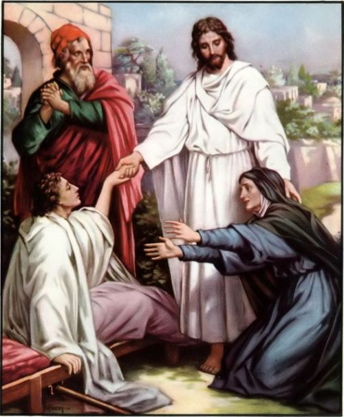 Jesus raises the widow's son. Maybe this is too literal to be fine art — but as illustration and emotional truth, it excels. (Standard Bible Story Readers, Book 6)