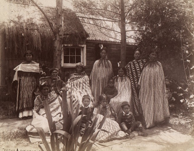 A Maori whanau, or extended family, living in a British-style house in the 1880s. The Maoris are descended from Polynesians who arrived in New Zealand about 1200 A.D., according to anthropologists. (Josiah Martin)