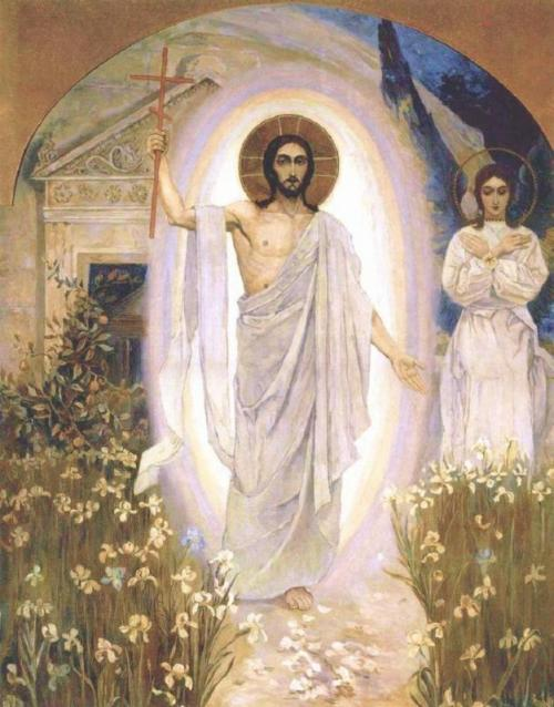 Risen Christ among the Lilies; artist unknown.