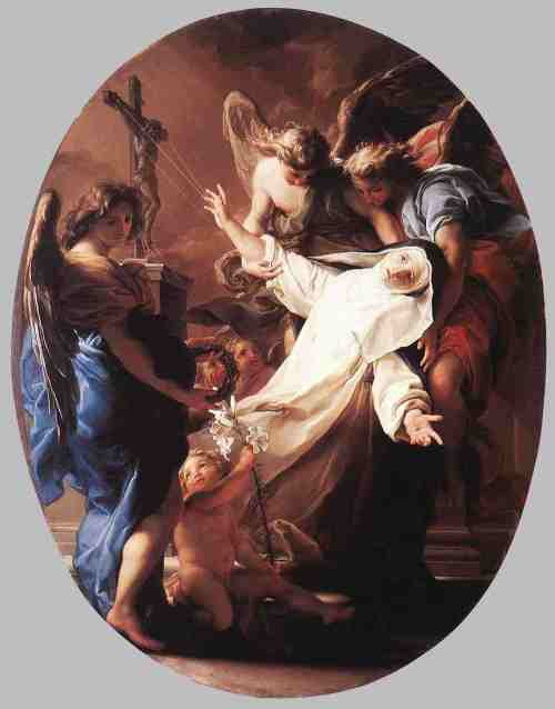 "Pompeo Batoni, 1743: The Ecstasy of St. Catherine of Siena. She was a Dominican nun, nurse and mystic who received her first vision at age six. At 19 she underwent a ""mystical marriage"" with Christ in which he fed her Communion himself. She was consistently opposed by her Order, which had her examined for heresy, but in time she began to exert a wide influence, unknown for a woman, over Church affairs, advocating for the reunification of the papacy between Avignon and Rome, reform of the clergy and better administration. Over 300 of her letters survive, as well as a Dialogue between a rising soul and God."