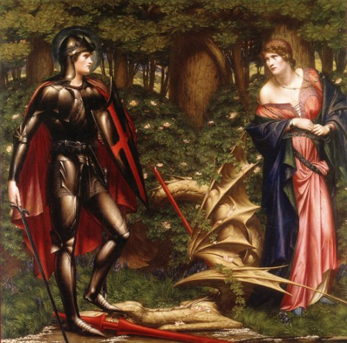 Sidney Harold Meteyard: St. George and the Dragon. It's a myth – but a beloved one, illustrative of genuine beauties fashioned from the life of a noble warrior who died for the cause of Christ. It's a happy coincidence that this morning's appointed psalm, number 45, celebrates King David's righteous victories, and is also especially suited to today's soldiers and police officers.