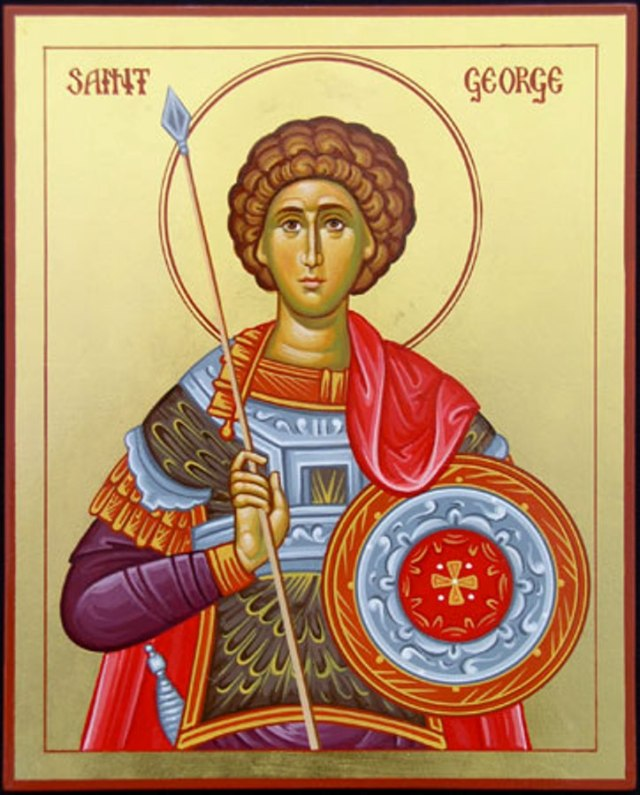 The real George was a Greek soldier in the Roman army, martyred under the Emperor Diocletian, who sought to unify his territories under the pagan state religion. George and Diocletian loved and respected each other, but the emperor would brook no compromise or threat to his power. (St. George Greek Orthodox Church, Bethesda, Maryland, USA.)
