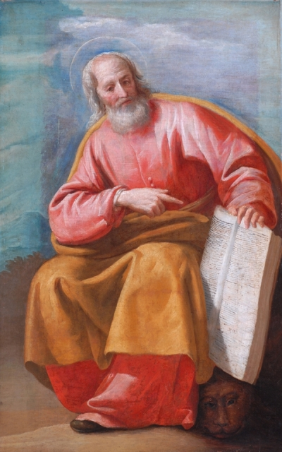 Jusepe Leonardo, c. 1630: St. Mark. His Gospel is the oldest of the four, and scholars say Matthew, Luke and John borrowed heavily from it. Mark omits the birth of Jesus and starts out instead with John the Baptist. (That's a winged lion's head under the book.)
