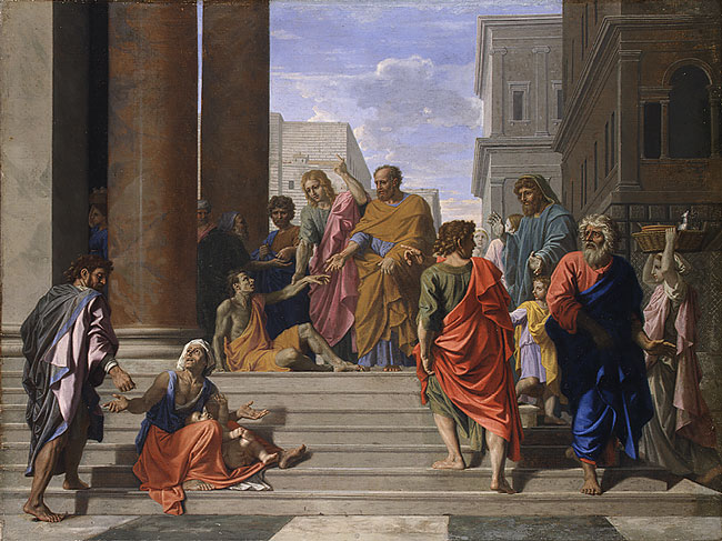 Nicolas Poussin, 1655: St. Peter and St. John Healing the Lame Man. (Metropolitan Museum of Art, New York)