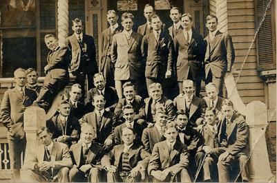 Toyohiko Kagawa's class at Princeton Theological Seminary in New Jersey in 1914; he was the only Asian in the all-male class. His Buddhist parents died when he was four years old, and he was raised by Presbyterian missionaries; as a teenager he had a conversion experience that set his course in life.