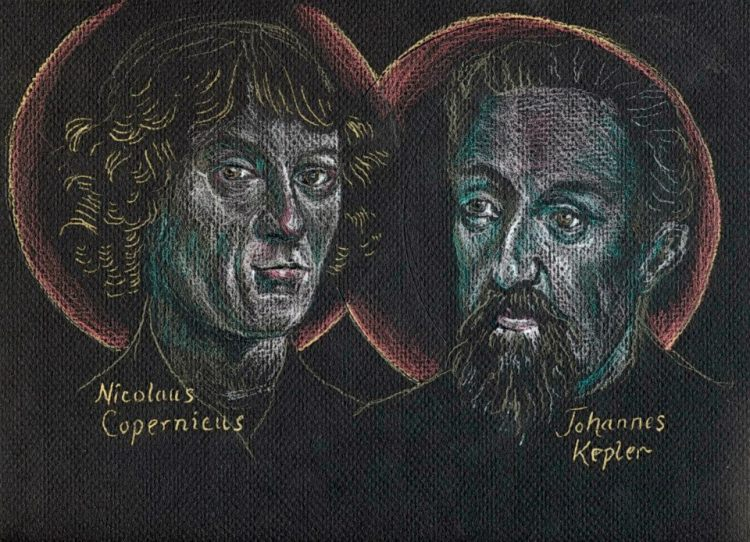 The Rev. Tobias S. Haller, BSG, chose a dark background for this sketch, as he contemplated the holy astronomers gazing at the night sky. Copernicus, a priest, correctly described the Earth and other planets orbiting around the sun in 1543; this was not a cause of much controversy until later, once the Vatican got hold of Galileo. Kepler, a German scientist, elaborated on Copernican theory and discoverd the laws of planetary motion. They both saw God's hand at work in creation.
