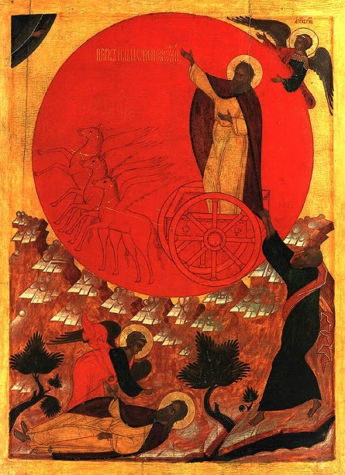 Unknown iconographer: Elijah Ascending in the Chariot of Fire