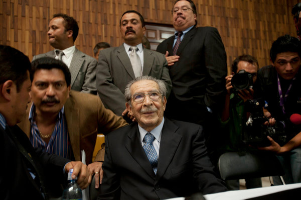 A court in Guatemala has convicted Gen. Efrain Rios Montt, center, of genocide against the indigenous Ixil Mayan people in the 1980s, the first time in history a dictator has been convicted in his own country of systematic ethnic murder. Rios Montt had the full backing of the U.S. government, which said he was fighting Communists. Now in a sense all Americans have been convicted by this Guatemalan court. (Moises Castillo/Associated Press)